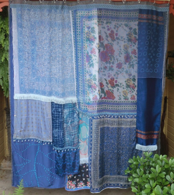 BLUE ENCHANTRESS - Handmade Gypsy Shower Curtain Global Hippie Vintage Style
