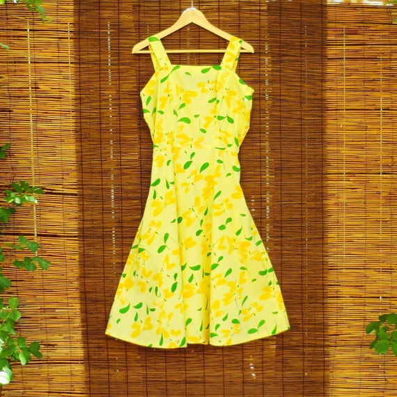 VINTAGE Sundress Yellow Summer Cotton