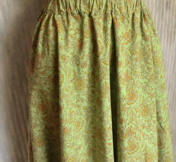 VINTAGE Lime Green Block Print HIPPIE Cotton SKIRT