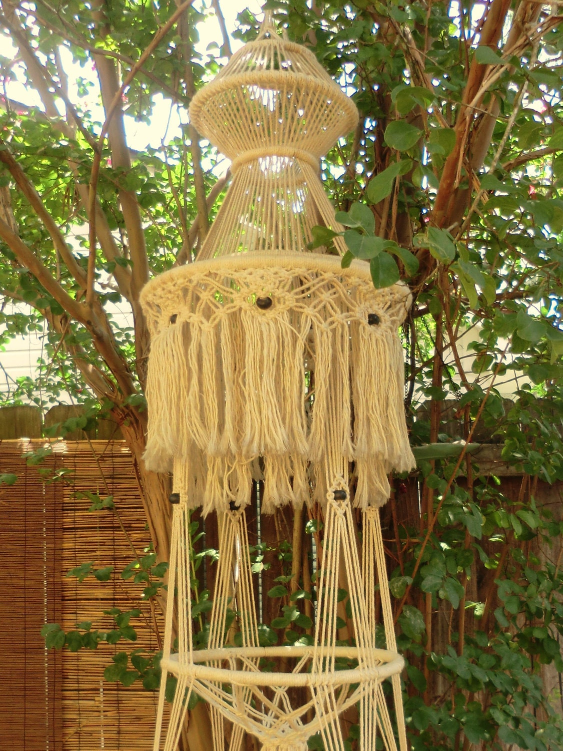 Vintage Macrame Plant Hanger Art Huge Hanging By