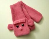 Pink Monkey Fleece Scarf - Kids Size