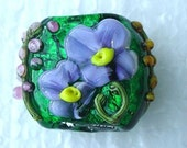 Flower Pillow Handmade  Lampwork Glass Focal Bead  Artist Made