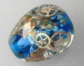 Blue Time Egg Steampunk Handmade Lampwork Focal Bead  Artist Made SRA C3