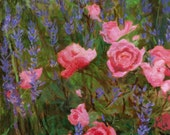 Roses and Lavender - Original painting on canvas flowers Purple Green Pink Magenta Lilac