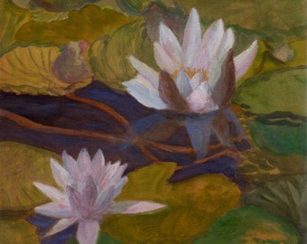 Water Lilies III - Original painting on canvas green blue water reflections Lake Claude Monet Pond