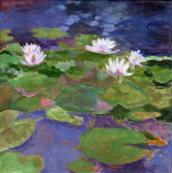Giverny Water Lilies Original Painting On Canvas Flowers And
