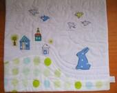 Rabbit in the Village - Little art quilt