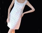 Mini Dress White Nottingham Lace Over Pale Blue Bonwits B34