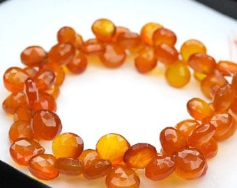 1/2 strand Dark Orange Chalcedony Faceted Heart Briolettes