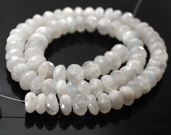 1/2 Strand- Large Rainbow Moonstone Micro faceted rondelles
