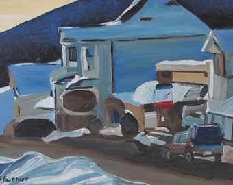 "Art Original Oil Painting Landscape Winter Village Snow Appalachian Eastern Townships Quebec Canada Fournier ""A Stop At The Corner Store """