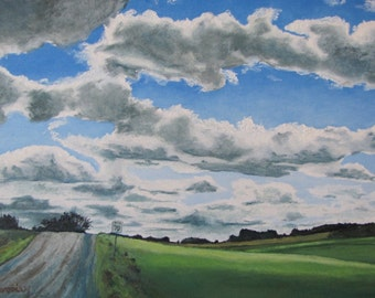 "Art Original Large Oil Painting Landscape Impressionist Country Road  Canada Appalachian Quebec sky Cloud "" Seventy Kilometer Zone "" 24 x 36"