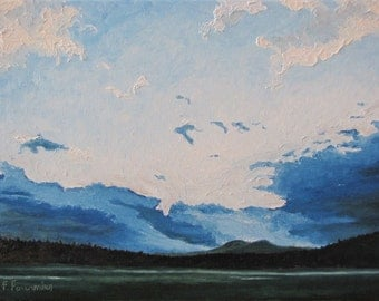"Art Original Landscape Oil Painting Impressionist Evening Appalachian Mountain Sunset Sky Quebec Canada Fournier "" Resting Clouds "" 18 x 24"