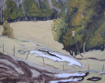 "Art Original Oil Painting Plein Air Small Landscape Impressionist Snow Fournier Appalachian Quebec Canada "" The Last Snow Patch "" 10"" x 12"""
