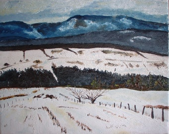 "Art Original Plein Air Landscape Oil  Painting Snow Winter Eastern Townships Impressionist Canada Fournier "" Winter in The Appalachians """