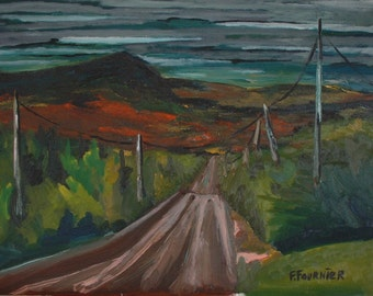 "Art Plein Air Landscape Oil Painting Impressionist Fall Country Road Appalachian Quebec Canada Fournier "" Marble Mountain During Red Season"