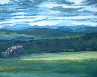 "Art Large Landscape Oil Painting Impressionist Country Field Appalachian Mountain Quebec Canada Fournier ""A Breaking Of The Clouds Piopolis"