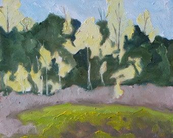 """Art Original Plein Air Oil Painting Spring Tree Landscape Appalachian Eastern Townships Quebec Canada By Fournier """" The Yellow Poplars """""""