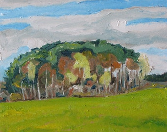 """Art Small Oil Painting Plein Air Landscape Original Impressionist Eastern Townships Tree Quebec Canada By Fournier """" The Bosquet """" 10"""" x 12"""""""