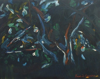 """Art Original Oil Painting Abstract Impressionist  Apple Tree Appalachian Quebec Canada By Fournier """" The Apple Tree In Black """" 18 x 24"""