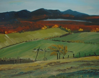 "Art Original Plein Air Oil Painting Impressionist Landscape Eastern Townships Appalachian Quebec Canada By Fournier "" Fall at Mollet Field"""