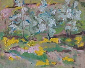 """Art Plein Air Small Oil Painting Landscape Original Impressionist Abstract Blossom Spring Quebec Canada Fournier """"The White Bushes 10"""" x 12"""""""
