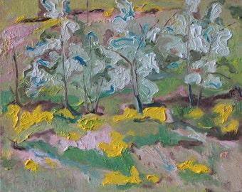 "Art Plein Air Oil Painting Landscape Original FREE SHIPPING Impressionist Blossom Spring Quebec Canada Fournier ""The White Bushes"" 10"" x 12"""