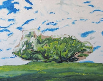 """Large Original Oil Painting Landscape Sky Apple Tree Impressionist Minimalist Fournier Canada Appalachian Quebec """"Surrounded With Clouds """""""