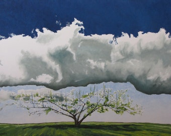 "Art Original Large Landscape Oil Painting Impressionist Minimalist Spring Blossom Apple Tree Cloud Quebec Canada "" Reaching For The Sky ''"
