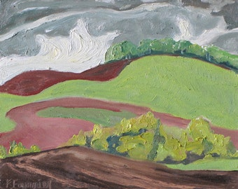 """Small Original Plein Air Landscape Oil Painting Impressionist Abstract Appalachian Quebec Canada By Fournier """"The Swirly Field """" 10 x 12 """""""