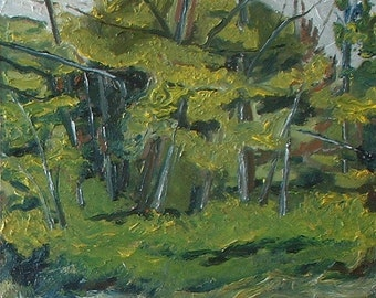 """Art Original Small Plein Air Oil Painting Impressionist Landscape Green Tree Appalachian By Fournier Quebec Canada """"The Wild Forest"""" 10 x 12"""