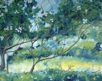"Art Large Plein Air Oil Painting Landscape Impressionist Spring Flower Blossom Quebec Canada Fournier "" The Apple Tree With Long Branches """