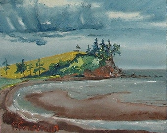 "Art Original  Small Plein Air Oil Painting  Impressionist Seascape Nova Scotia Canada By Fournier "" Caribou Beach Nova Scotia "" 10"" x 12"""