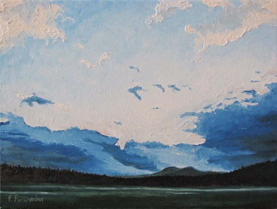 """Art  Appalachian Landscape Oil Painting Eastern Townships Evening Mountain Blue Sky Quebec Canada Fournier """" Resting Clouds """" 18"""" x 24"""""""