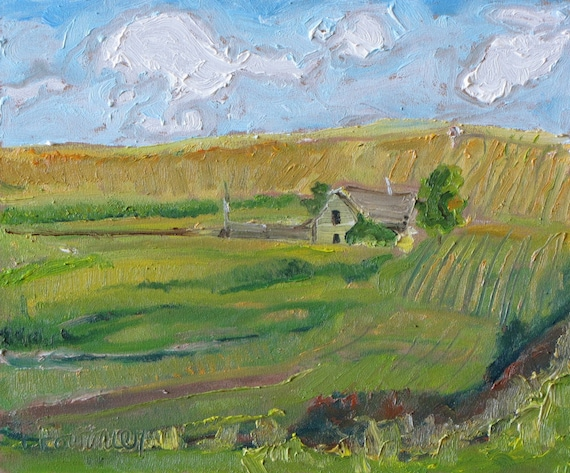 """Fournier Appalachian Plein Air Oil Painting Quebec Canada """"The Old House on The Field"""" 10 x 12"""