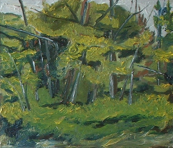 "Art Original Small Plein Air Oil Painting FREE SHIPPING Impressionist Landscape Appalachian Fournier Quebec Canada ""The Wild Forest"" 10 x 12"