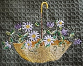 May Flowers on Waffle Weave Kitchen Towel - choice of colors - Embroidered Personalization