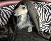 ZEBRA STRIPES IN PINK AND BROWN Snuggle sack for Dogs or Cats - Summer Weight - Free Personalization