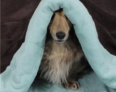 Aqua Bunnysoft Fleece and Chocolate Ultra Suede Snuggle Sack for Dogs, Cats, Pets - Includes Embroidered Personalization