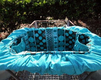 Shopping Cart Cover for dogs - puppies - pets - Turquoise and Chocolate - Includes Personalization -  Quilted CottonTote