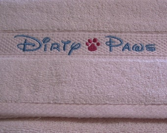Hand Towel - Embroidered Towel - Slobber Stopper - Dirty Paws - Drool Dribbles - Spit Happens - Hand Towel - Embroidered