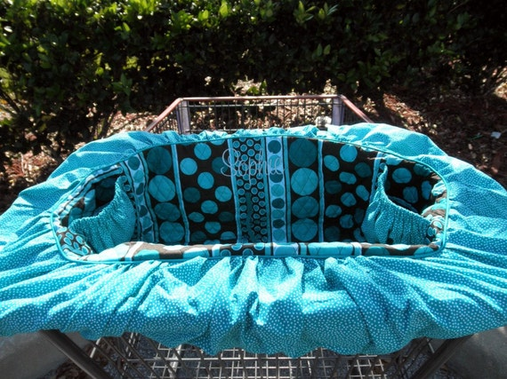 Dog Cart Cover - Shopping Cart Cover for dogs - puppies - pets - Turquoise and Chocolate - Includes Personalization -  Quilted CottonTote