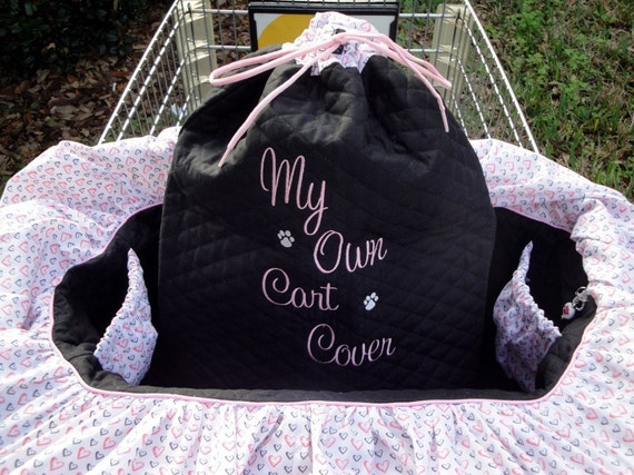 Dog Cart Cover  - Shopping Cart Cover - Dogs - Pets - Drawstring Tote Included - Customize With Your Own Colors and Patterns