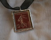 French Postal Pendant- 1939 Stamp Reversible Necklace