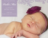 Purple Paisley Baby Photo Birth Announcement - 5x7 or Costco size 6x7.5 You Print