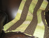 Baby Quilt - Modern Style in Spring greens and brown