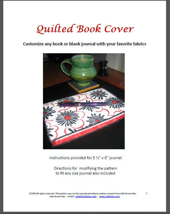 Quilted Book Cover Pattern : Quilted book cover pattern by julieneu on etsy