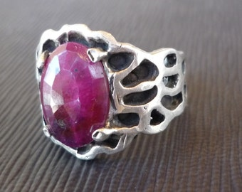 Ruby and Sterling Silver Detailed Ring