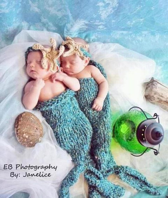 Twins Newborn Mermaid Tail Photo Props Free Ship By Chartechic
