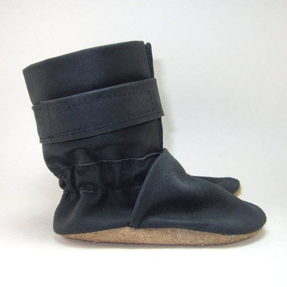 Soft Sole Black Leather Baby Boots Shoes 6 to 12 Month